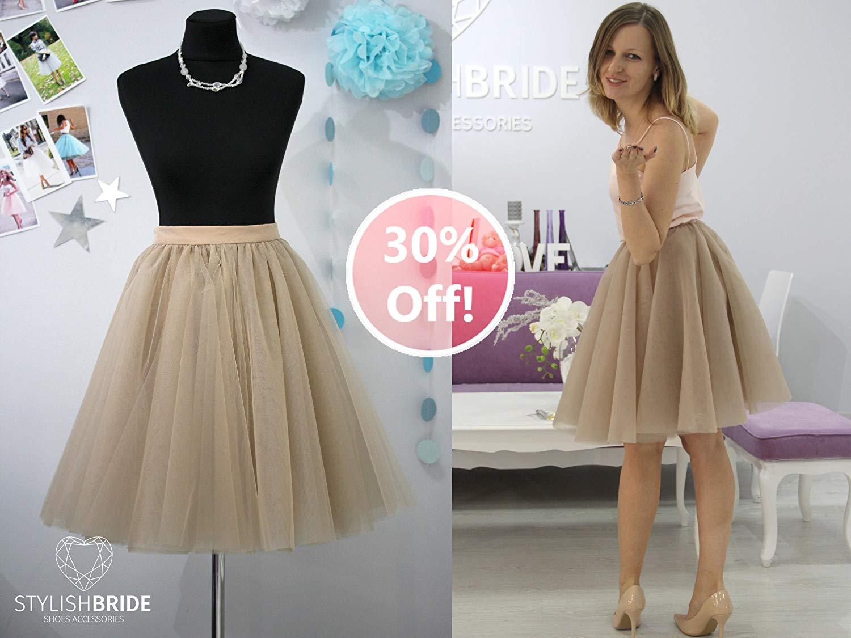 2dd7f0ade 173 Sun Flared Women Taupe Super Lush Tulle Skirt, Tulle Skirt Bridal, Women  Tulle