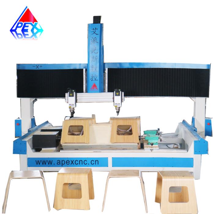 4 แกน CNC Router 4 สถานีสูงผลผลิตความแม่นยำสูง CNC Woodworking เครื่อง Bent ไม้อัดและเก้าอี้