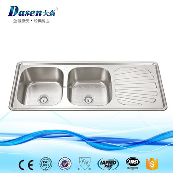 Double Bowl Stainless Steel Kitchen Trough Sink 1.2m With Water Drain Board