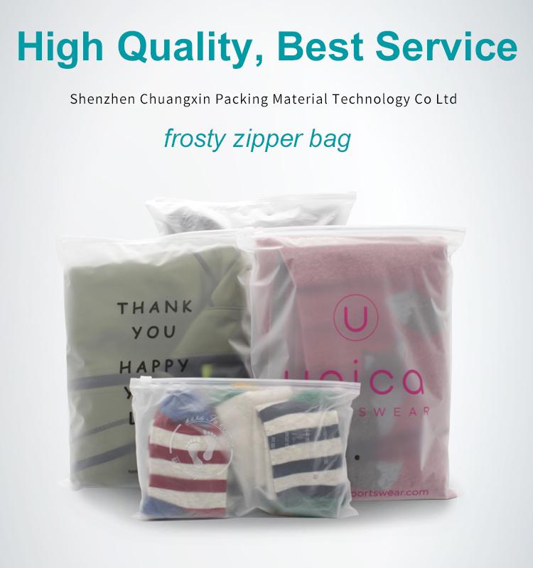 CPE Slider Ziplock Packaging Bags Matte Zipper Bag For Clothing Garment Grade Packing