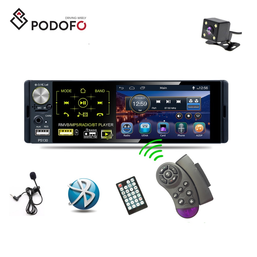"Podofo 1 Din Autoradio Car Radio 4.1"" Capacitive Touch Screen DVD MP5 Player RDS/FM/AM Bluetooth With Rear Camera + Microphone"