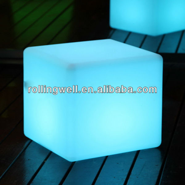LED rechargeable /multi color changing/waterproof/glowing outdoor led cube seating