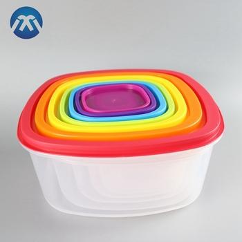 7 Pcs Rainbow Color Plastic Food Storage Container Bento Lunch Box