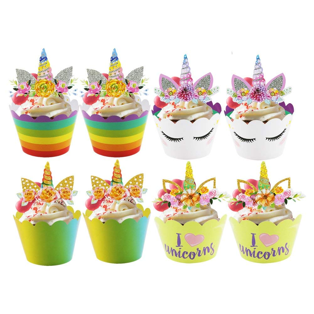 Unicorn Cupcake Toppers,ACCMOR 24 Pcs Wrappers Double Sided Cake Decorations for Kids Party Birthday Favors-AB