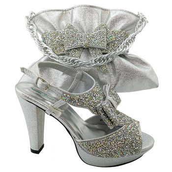 05a99f2a3a8a Sinyafashion SGF 987-6 silver New italian wedding shoes and matching bag  set