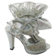 Sinyafashion SGF 987-6 silver New italian wedding shoes and matching bag set,women high heel African shoes and bag set