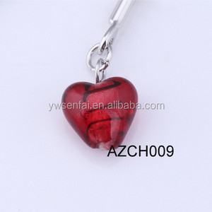 2016 Hot Sale Wholesale Jewelry Accessories Custom Red Color Heart Shape Murano Glass Pendant