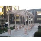 Western Style Garden Classical Antique Hand Carved Custom Stone Gazebo Flower Wall With Statues