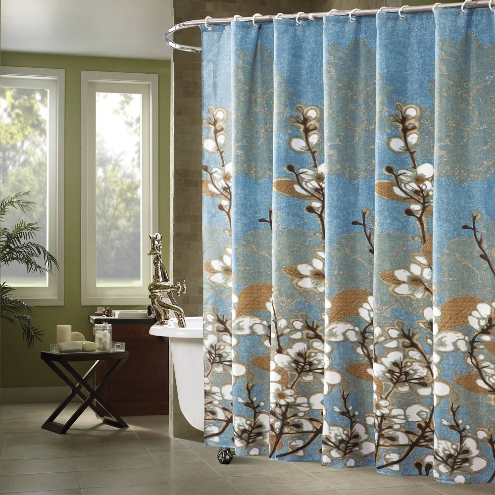 Get Quotations Ufaitheart 36 X 72 Shower Curtain Floral Bathroom Waterproof Fabric Blue