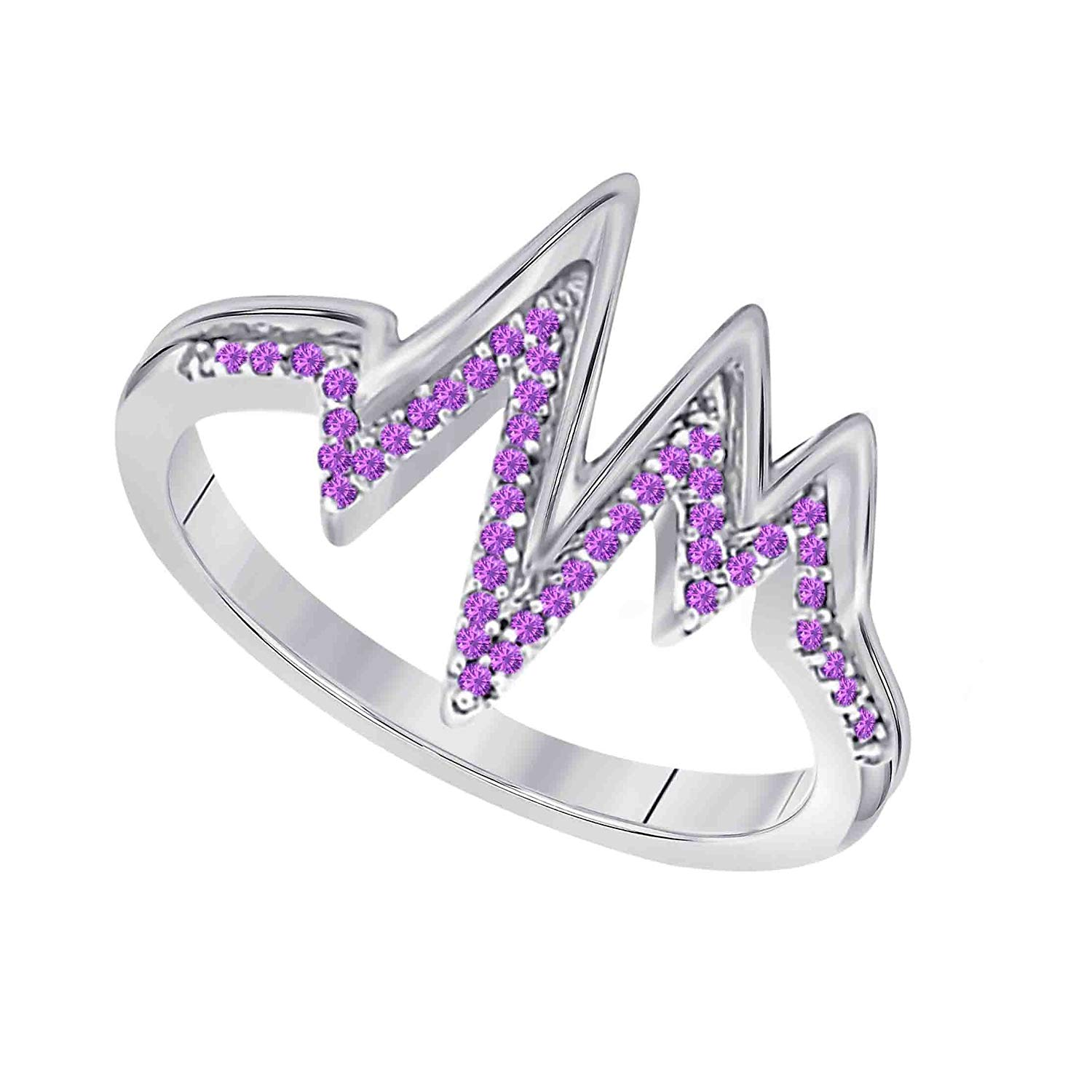 46aba67a3 Hot & New Collection Promise Heartbeat Ring Lab Created Amethyst .925 Sterling  Silver Finish &