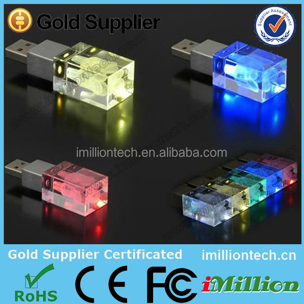 crystal metal usb 3D logo with LED light stylish crystal usb drive for Christmas gift