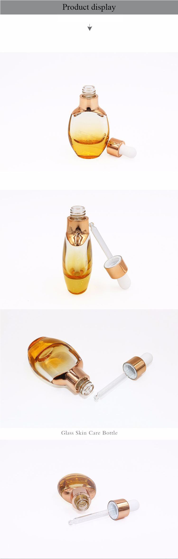 15ml 30ml Oblate Round Shape Essential Oil Glass Dropper with White Cap
