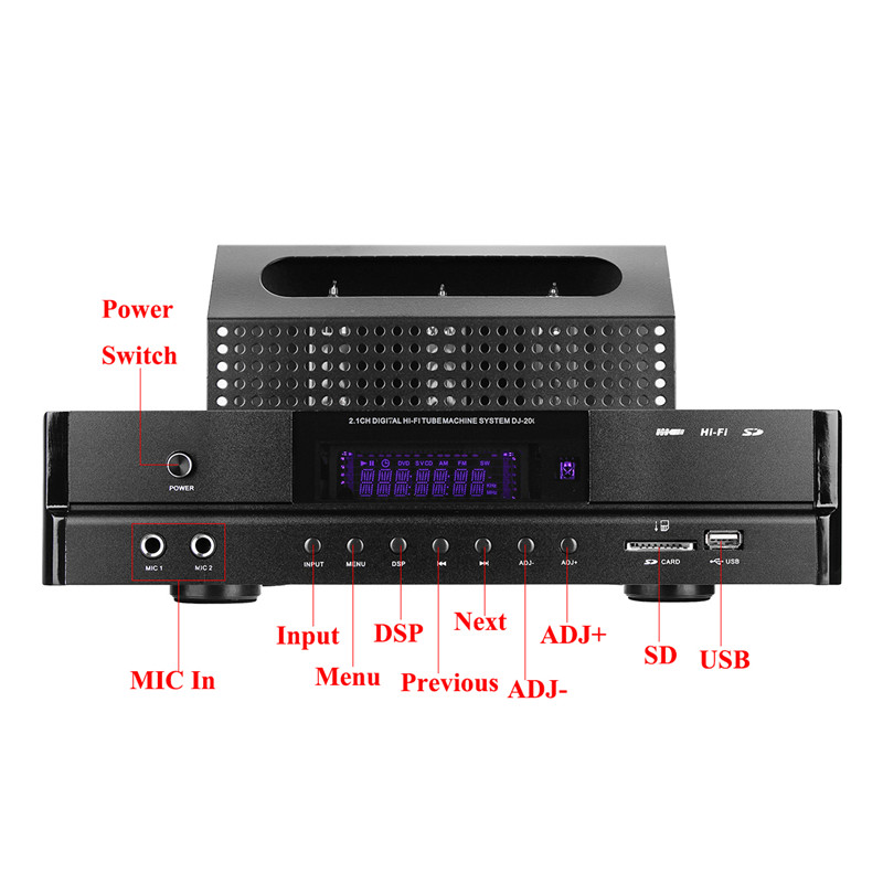 Free Shipping DJ-200 HIFI bluetooth 4.0 2.1Tube Power Amplifier Audio 200W USB SD Amplifier Microphone Subwoofer AMP Home Tube