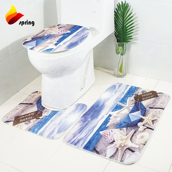 Luxury  Bathroom Set Custom Printed 3d Waterproof Toilet Bath Mat