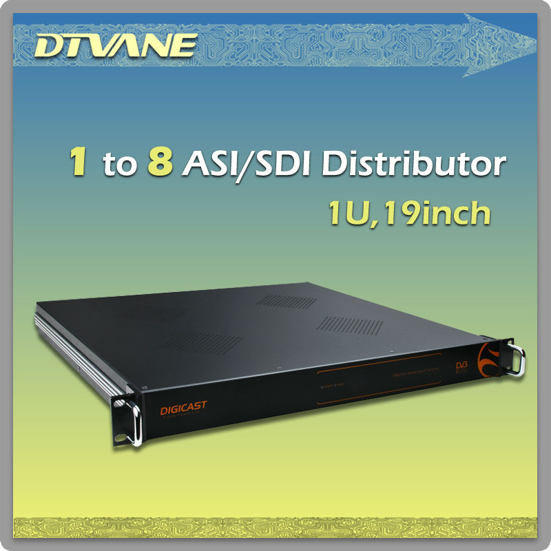 Professional distribute 1 to 8 dvb asi distributor with re-clocking automatically and anti-static design functions (DMB-1018 )