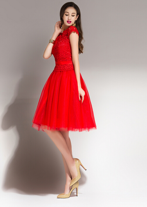 Modest Red Short Bridesmaid Dress Cap Sleeves Lace Top ...