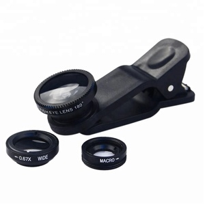 Shenzhen hisam Universal Clip 3 in 1 Wide Angle Macro Fisheye Mobile Phone Camera Lens for Iphone 6/plus lens camera