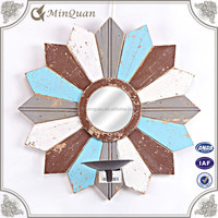 antique wooden decorative wall mirror , small round craft mirrors