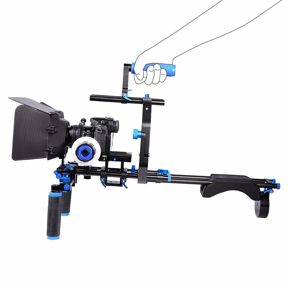 YELANGU D201 Professional Shoulder Rig Aluminium Alloy Camera Support DSLR rig +Matte Box+Follow Focus+C-shape Support