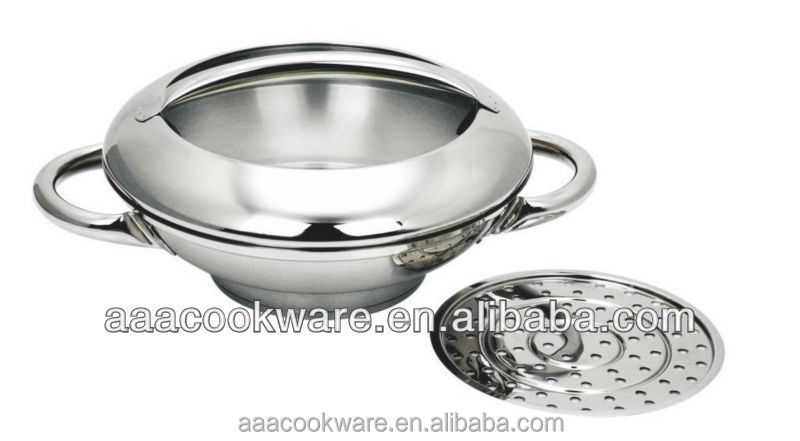 2014 New Design 2PCS High Guangdong Quality Stainless Steel Wok Set With Induction Bottom For Wholesale
