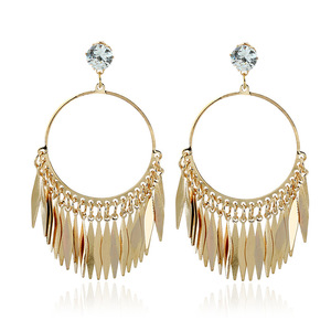 Retro vintage metal leaf Tassel Earrings