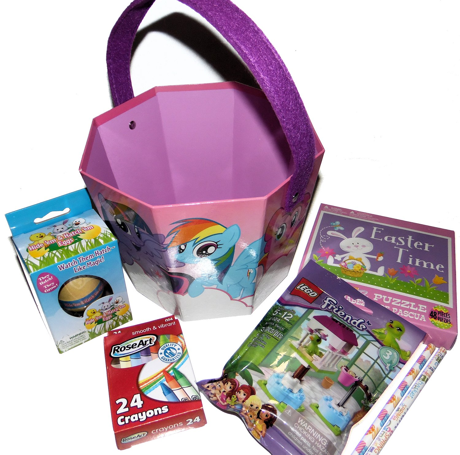 My Little Pony Bucket Gift Basket with Hatch em egg, Friends Building Blocks, Crayons, Easter Puzzle and Pencils,