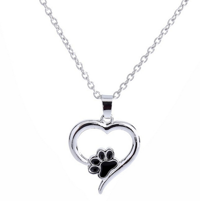 WZ305 Pet Memorial Jewelry Always in my Heart Dog Cat Foot Pet Paw Print Heart Pet Lover Pendant Necklace