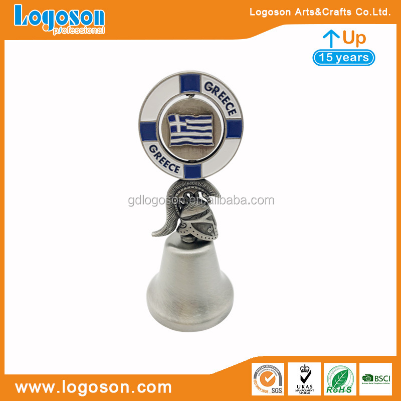 Greece Souvenirs Custom Small Metal Bells Spinning Greece Flag Round Small Bells For Souvenir