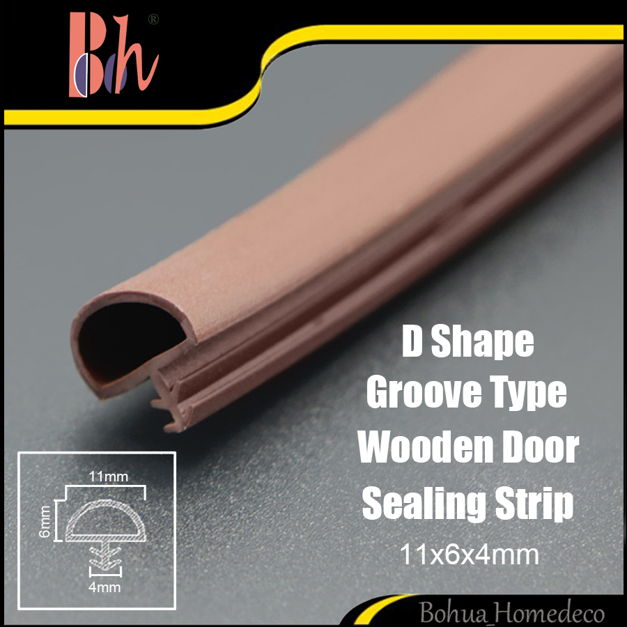 D 11x6x4mm Wooden Door PVC Sealing Strip Window Frame Groove House Room Home Sound Dust Proof TPE Silicone Rubber Weatherstrip