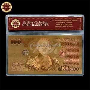 2011 Year Bhumibol Adulyadej Gold Banknote 100 Baht Gold Plated Banknote King Bhumibol's 84th Birthday with Plastic Sleeve