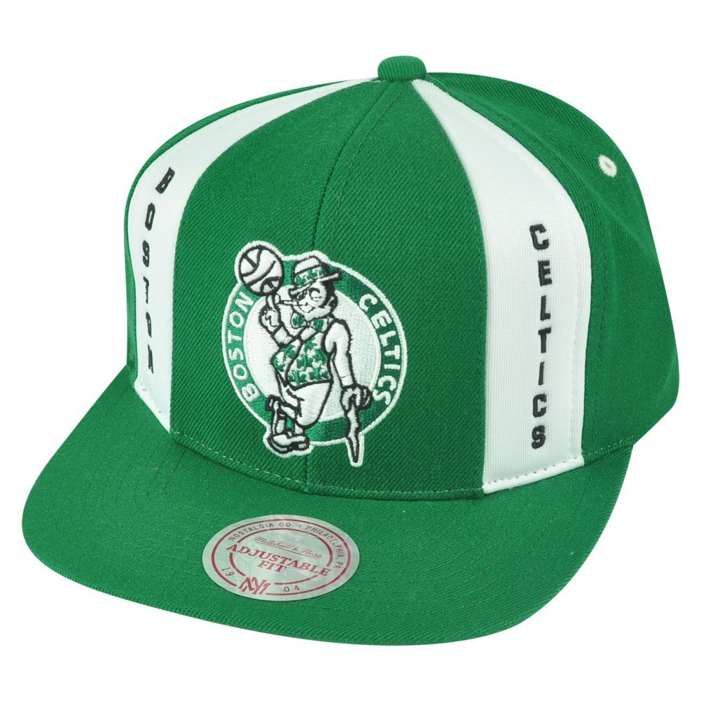 3e6d94cb334 Get Quotations · NBA Mitchell Ness HWC Boston Celtics ND04 Panel Down  Snapback Flat Bill Hat Cap