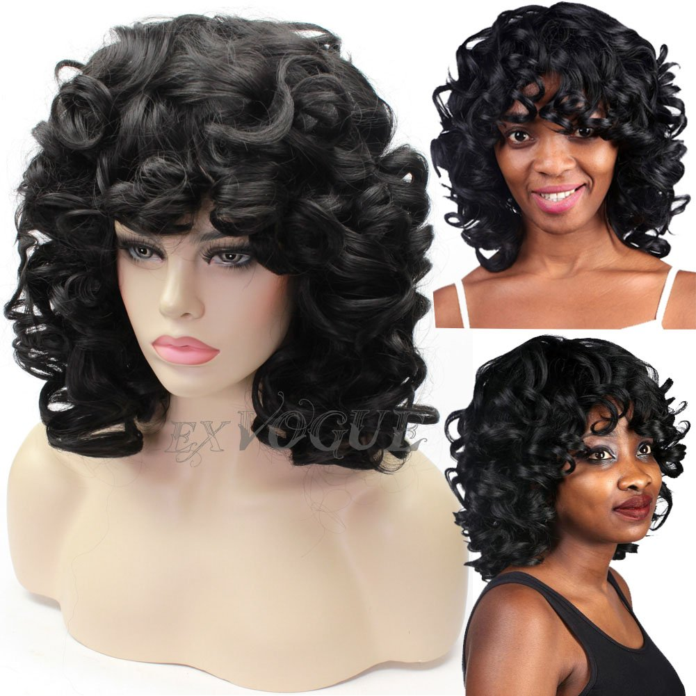 EXVOGUE Kinky Short Curly Wigs Synthetic Fiber Fluffy Hair Black Spiral Curl Wig with Bangs Capless African American Wigs for Women