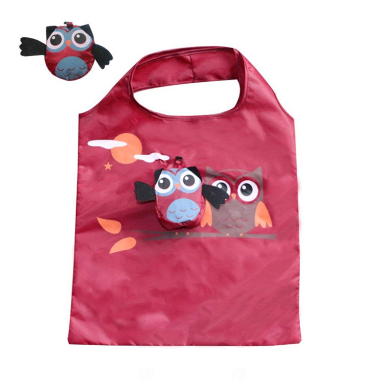 Adorable Owl Reusable Foldable Shopping Tote Travel Recycle Grocery Bags to Save Space