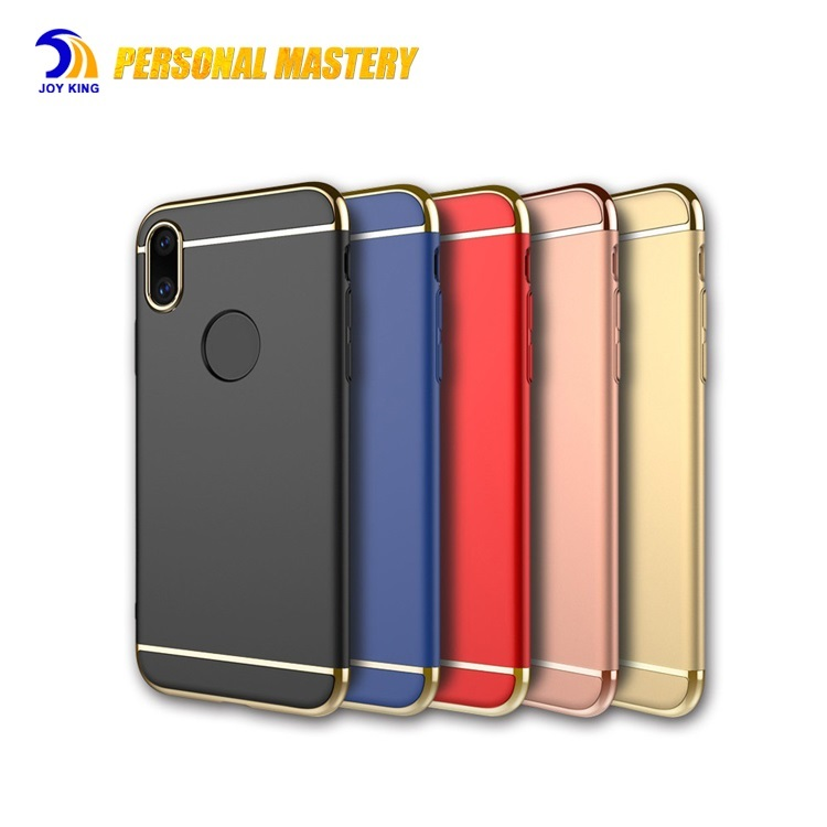 Hard case for iphone x 3 in1 pc case fashion style electroplating case for iphone x/8 back cover luxury