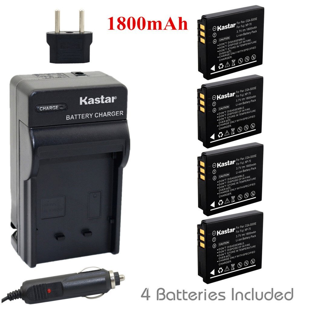 Kastar Battery (4-Pack) and Charger Kit for Panasonic Lumix CGA-S005, CGA-S005A/1B, CGA-S005E, CGA-S005GK, DMW-BCC12 DE-A12 and Panasonic Lumix DMC-LX3 (Detail Models in the Description)