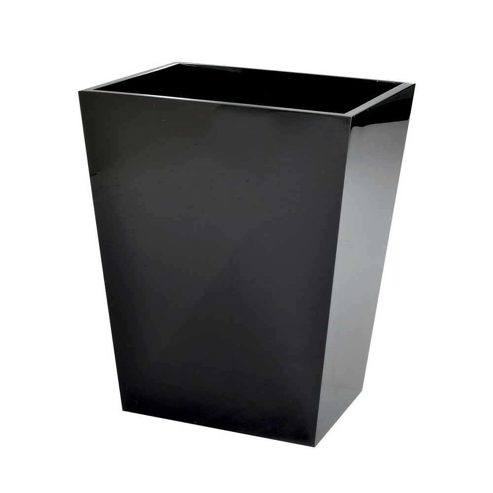 Luxury Hotel Black Polished 100% Resin Bathroom Tissue Box with Magnet Base