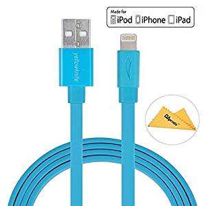 [Apple MFi Certified] Yellowknife 3.3ft/1m Flat Noodle Lightning to usb Cable for iPhone 7 /7 Plus /6 / 6s / 6 plus / 6s plus / SE / 5s , iPad / Mini / Air, iPod touch /nano ( Tangle Free ,Blue)