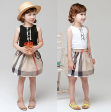 England grid girls summer vest + skirt suit brand style 2016 Girls Short Set Children Clothes Set