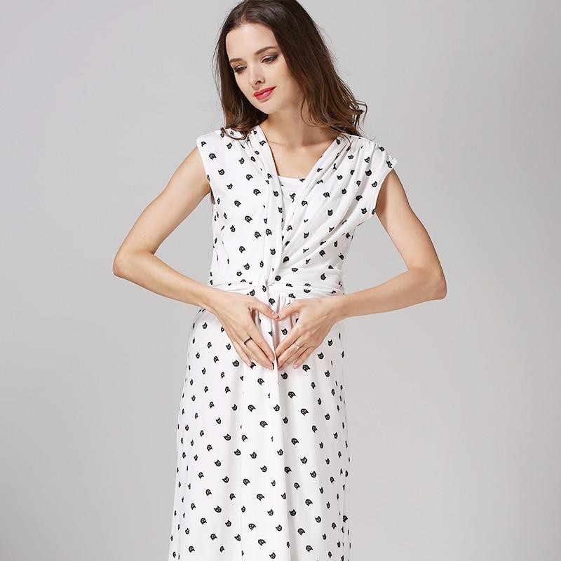 0b7dd2bf1 Maternidad de verano salida vestido Atheleisure de enfermería ropa de  ocultar la lactancia materna apertura faldas