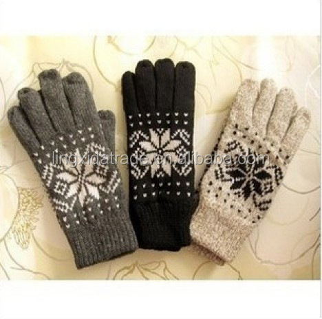 100% Acrylic jacquard touch screen Gloves with 3M thinsulate lined