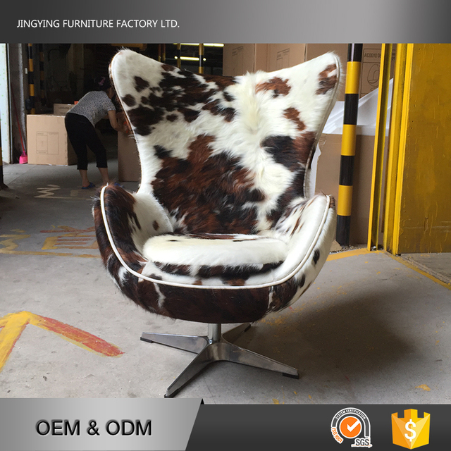 SGS Certificate Cowhide Oval Egg Chair For Living Room Relax