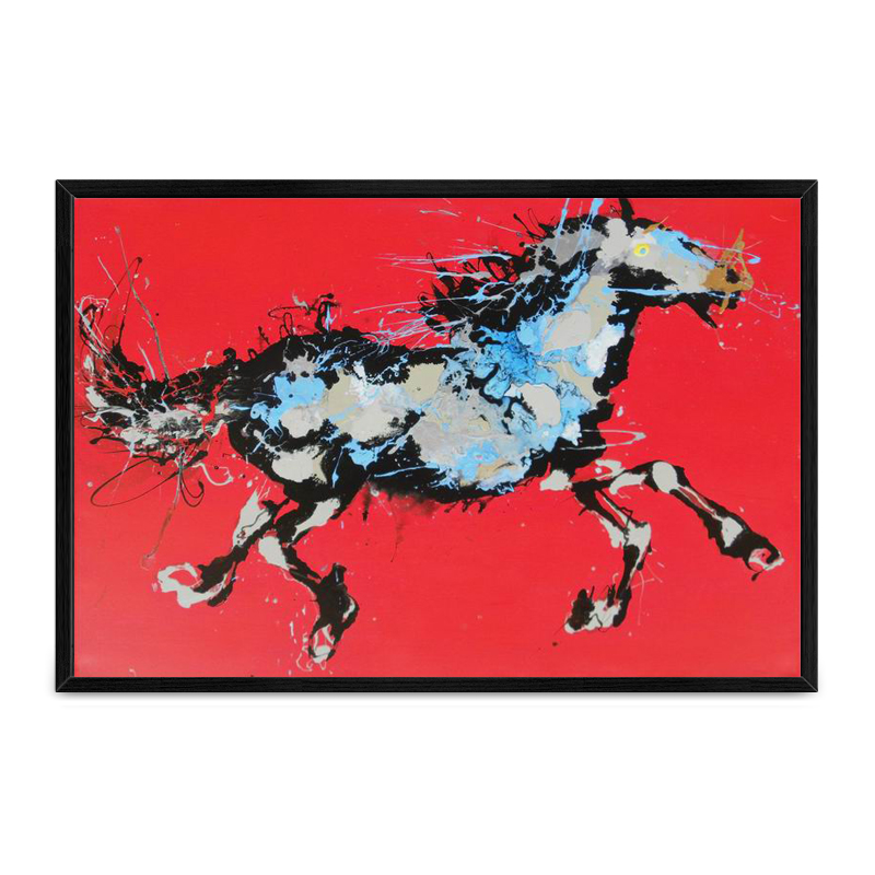 High quality home goods wall art handmade abstract animal wild horses oil painting