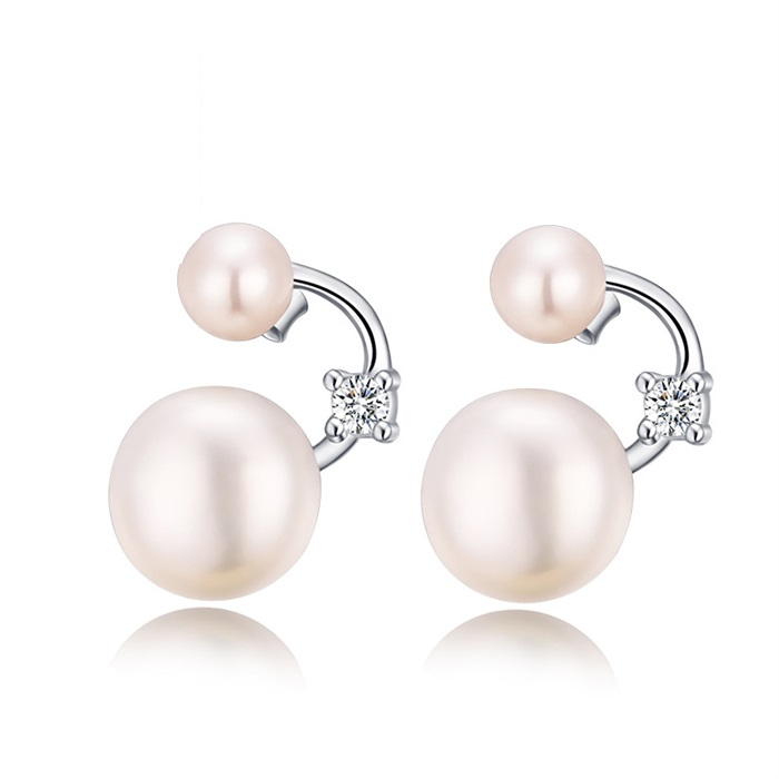 Big Sale SJ Supplier SJH08 <strong>Fashion</strong> 925 Silver Platinum Plated Cubic Zirconia Prong Setting Women Double Freshwater Pearl Earring
