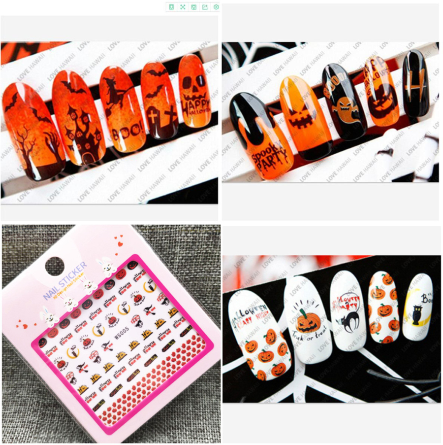 Hot sale 3D nail art Halloween stickers 3D Halloween nail sticker
