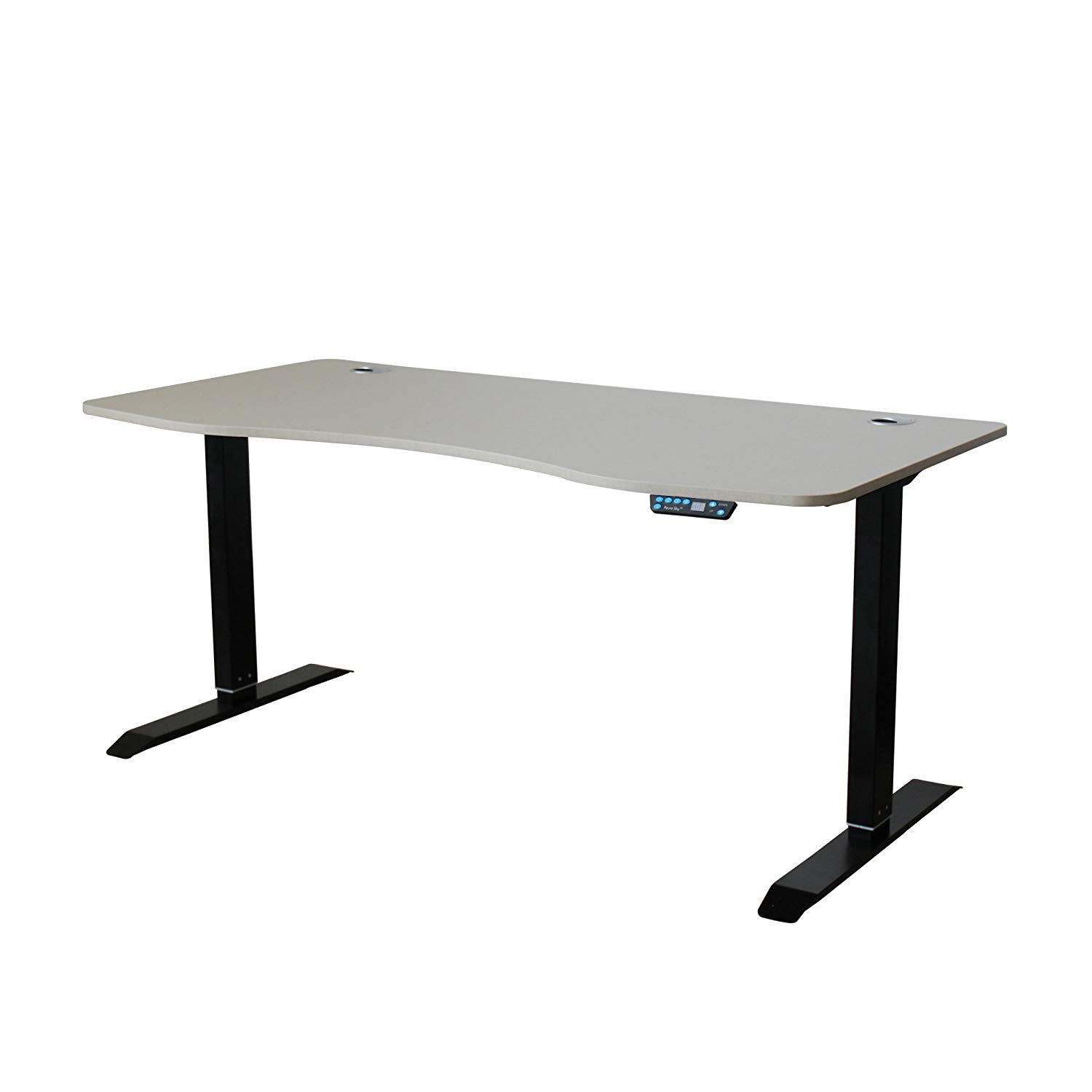Azure Sky AB3-63 Ergonomic 63-in 3 Memory Buttons LED Electric Automatic Height Adjustable Sit to Stand Curved Work Office Desk with Black Legs