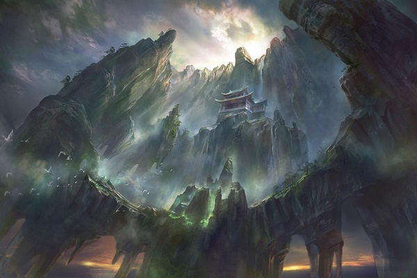 artwork fantasy art pagoda <font><b>Asian</b></font> architecture mountain waterfall digital artrock 4 Sizes <font><b>Home</b></font> <font><b>Decoration</b></font> Canvas Poster Print