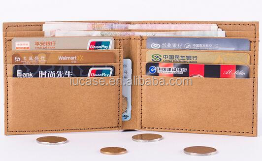Original Creative Personality Portable Slim Bifold Washable Kraft Paper Wallet