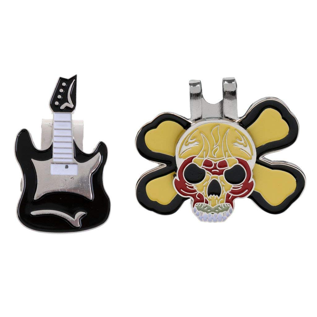Dovewill 2 Pieces Magnetic Electric Guitar Golf Ball Marker Punk Skull Hat Clip Golf Ball Markers Combo