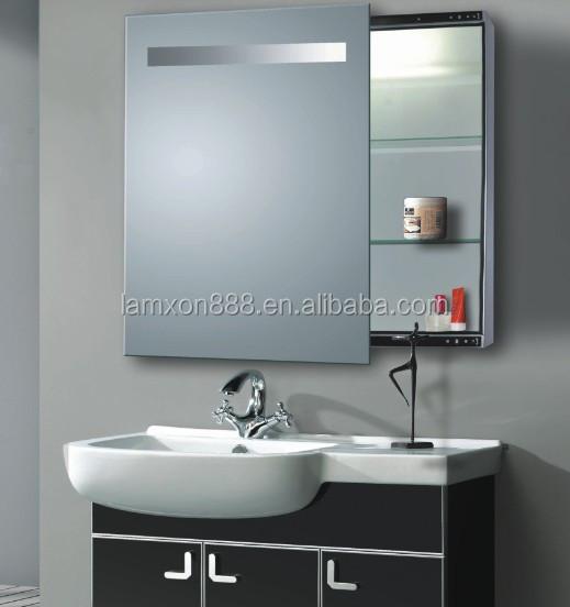 g nstigen preis bad edelstahl spiegelschrank mit led beleuchtet schiebet ren schrank miror. Black Bedroom Furniture Sets. Home Design Ideas