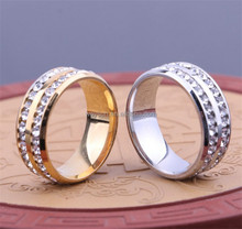 1 PC Gold Silver Crystal Rings Female Stainless Steel Wedding Engagement Charm Rings For Women Fashion Jewelry